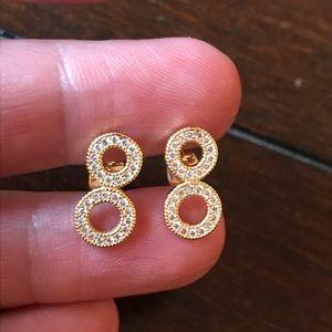 """Cute Gold filled """"8"""" topaz Zirconia gems earrings"""